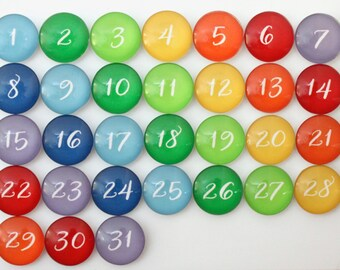 Number magnets - 31 Gorgeous Rainbow Glass Magnets