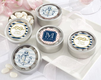 24 + Personalized Silver Round Candy Tin, Nautical Mint Tin Wedding Favors, Custom Wedding Mint Tins  (14040-NW)
