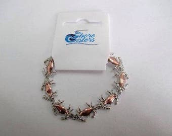 Copper or Enameled Crab Bracelets