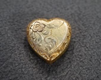 vintage gold filled hinged locket slide with etched floral design,  M1
