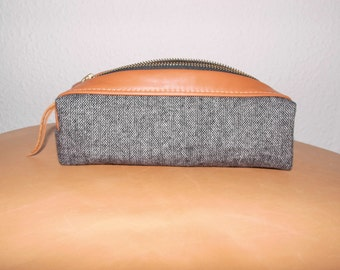 TWEEDY cosmetic bag, pencil-case wool-tweed/leather lined with waxed cotton