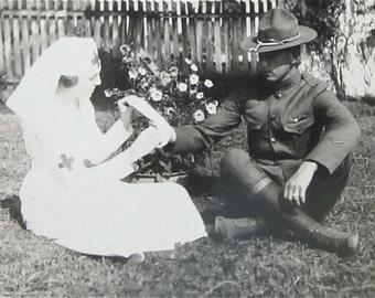 Vintage 1910's World War I Era US Soldier and His Red Cross Girl Snapshot Photo - Free Shipping