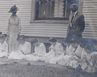 The Sewing Circle - 1920's Young Girls Practice Their Domestic Skills Snapshot Photo - Free Shipping
