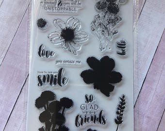 Believe Flower Layer Clear Cling Hampton Art  Stamps Scrapbooking & Stamping Supplies