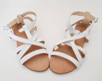 Vintage leather white sandal size 39 IT Heel 1 cm OOAK Made in Italy