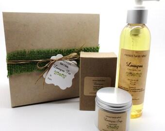Lemongrass Trio Bath and Body Gift with Lemongrass Castile Soap, Lemongrass Bar Soap, Lemongrass Sage Hand Lotion, Lemongrass Lovers Gift