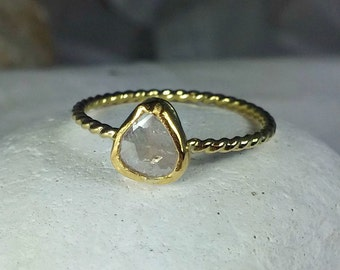 Rose cut diamond ring, solid 18 kt gold diamond engagement ring, solitaire ring, diamond ring