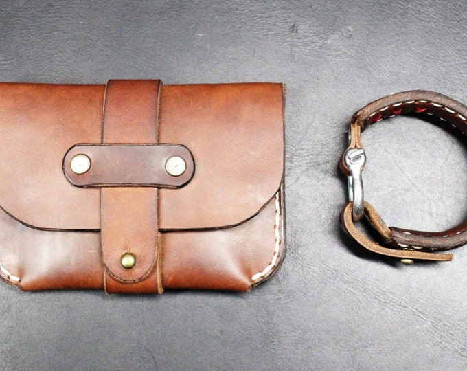 WALLET and BRACELET leather accessories GIFT set