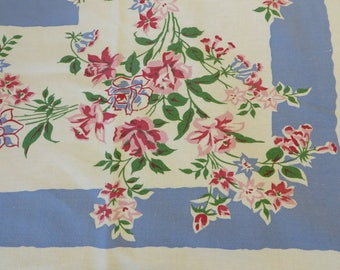 Tablecloth Vintage Cotton Retro Kitchen //  Periwinkle Blue Pink Red & Green  //  Vintage Linens  // Country Cottage Shabby Decor