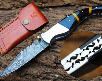 "Damascus Blade Handmade 3.0"" Folding knife W/Steel Bolster, Liner Lock,Water Buffalo Horn & Fine Sheath Cover UDK-D-42"