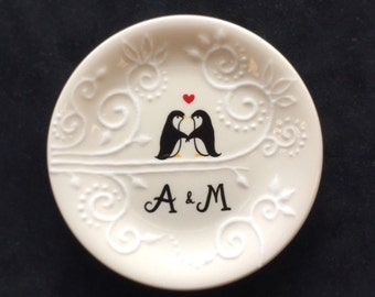 Engagement gift - cute penguins Personalized Hand Painted Ceramic Ring Dish, ring holder plate- Anniversary, Valentine's Day