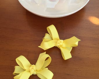 Yellow hair bow, hair bow, baby hair bow, set of 2