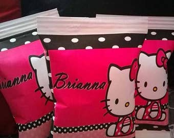 Personalized chip bag Hello Kitty pink black white treat bags, FREE SHIPPING, party favor, goody
