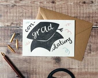 Con-grad-ulations Letterpress Graduation Card