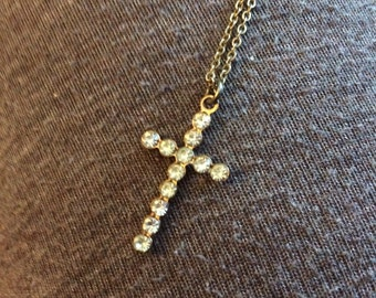 Vintage Rhinestone Cross necklace