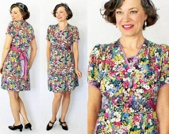 1930s Dress / 30s Dress / Chiffon Dress / Bright Floral Dress / 1930s Day Dress / 30s Day Dress / Day Dress / 1940s Dress / 40s Dress / W 27