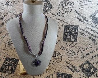 Purple Necklace Lavender Lilac and Black Glass  Pendant Necklace