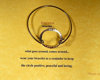 Good Karma Silver Bangle Bracelet