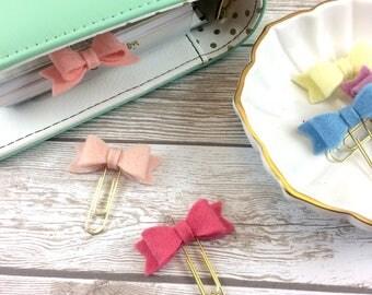 Mini 100% Merino Wool Bows // Planner Clips // #049