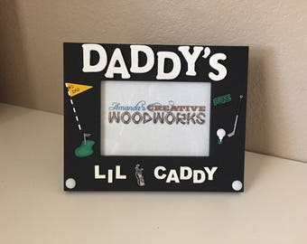 Daddy's Lil Caddy 5x7 Picture Frame, Golfing Picture Frame, Golf Frame for Dad, Custom Golf Frame, Grandpa's Lil Caddy, Future Caddy Frame