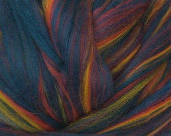 Dyed Merino - Borealis- Multicolor commercial dyed - combed top roving spinning felting fiber fibre arts - blue red yellow purple
