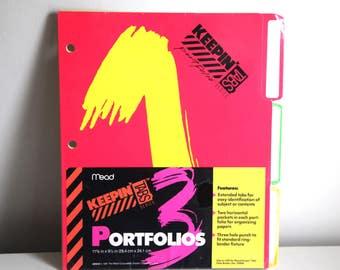 Vintage 90s folders neon mead trapper keeper new 1991