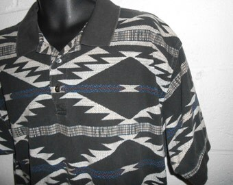 Vintage Aztec Short Sleeve Polo Shirt Size L/XL