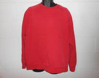 Vintage 90s Distressed Red Nike Crewneck Sweatshirt XL