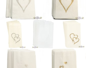 50 x Wedding Cake Bags Silver or Gold Hearts Decoration Supplies FREE POSTAGE Australia Wide