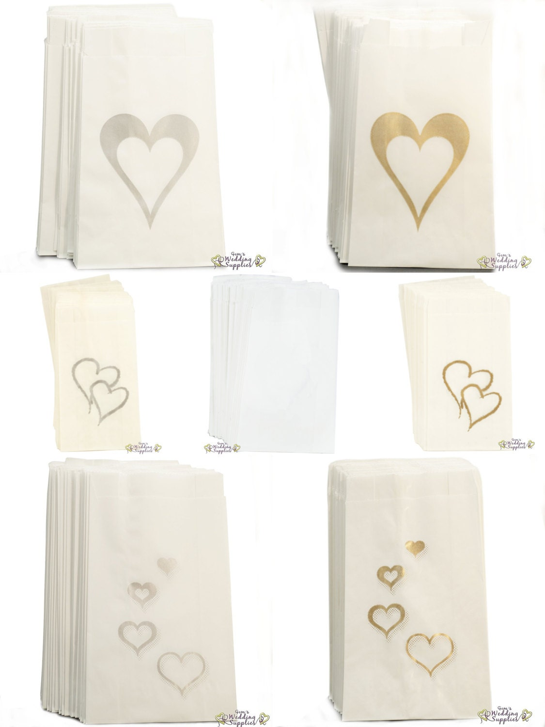 wedding cake bag 50 x wedding cake bags silver or gold hearts decoration 21775