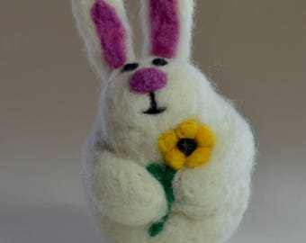 Bunny ornament, needle felted rabbit decoration, easter present for bunny lover
