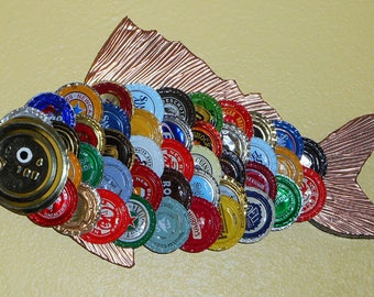 OOAK Small Handmade Trash Art Recycled Bottle Cap Fish — Used Multi-Colored Bottle Caps