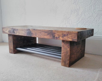 Coffee table chunky wood with steel pole base industrial style