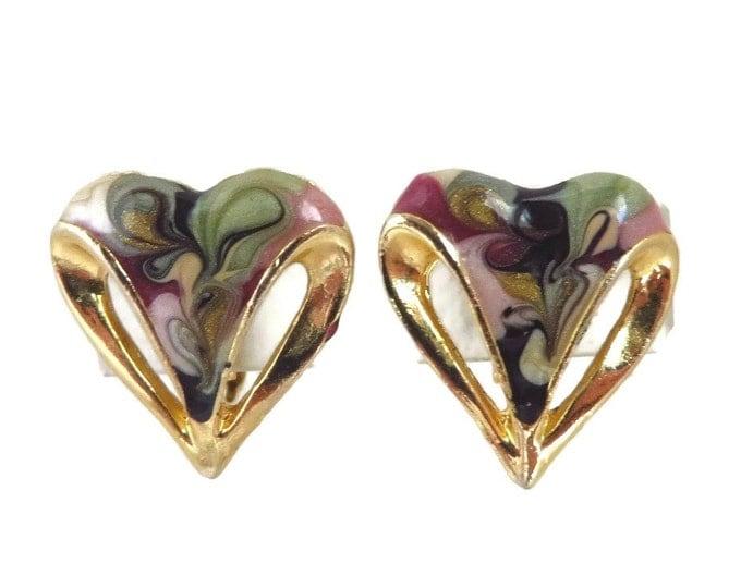 Vintage Cloisonne Heart Earrings, Gold Tone Clip-on Earrings