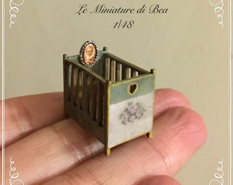 1/48 dollshouse miniatures 1/4 vintage old   Cradle wood hand made by Bea french style.