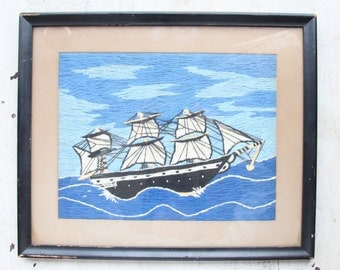 Crewel Embroidery of Clipper Ship, Framed, 1950, Seascape, Classic Boat, Sailing, Maritime, Schooner, Full Mast, Tall Ship, WTH-1544