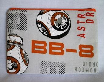 BB-8, star wars tfa inspired zip pouch.