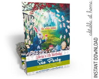 Alice in Wonderland Invitation, Alice in Wonderland Birthday Invitation, Party Invitation INSTANT DOWNLOAD you personalize at home