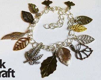 Autumn Leaves Charm Bracelet, leaf bracelet, autumn bracelet
