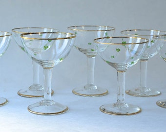 Shamrock Champagne Glasses St. Patrick's Day Barware Set of 7 Green Four Leaf Clovers