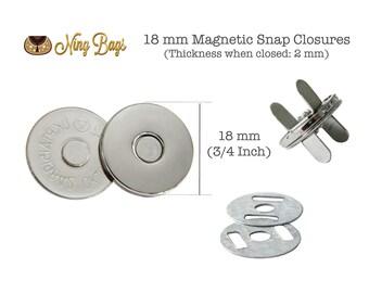 Set of 20 // 18 mm (Slim) Magnetic Snap Closures, Slim Magnetic Purse Snaps, Slim Magnetic Button in Nickel Finish