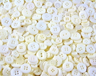 White & Cream Small Mixed Buttons - Bulk/Job Lot/Scrapbooking/Card Making/Crafting