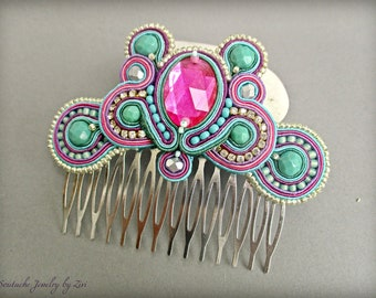 Fuchsia Teal Blue Soutache Hair Comb, Teal Purple Pink Fascinator, Rhinestone Hair Comb, Bridal Wedding Hair comb, Pink Bridal Headpiece