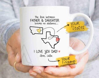 dad state mug, dad distance, dad personalized, fathers day from daughter, long distance gift, distance quote mug, family distance MU626