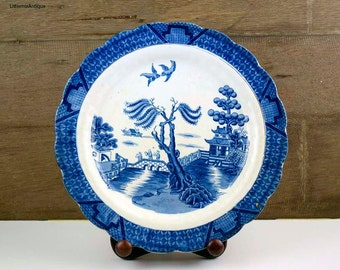 Antique Booths Silicon China England  Real Old Willow Blue and White Transferware Dinner Plate. Period 1906-1921 Display Collectible Plate