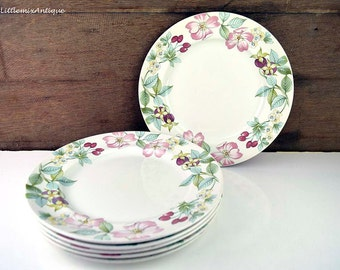 Set of 6 Wood&Sons  Stoke on Trent Made in England Floral 'Country Lane' pattern Dinner Plates Retro English tableware