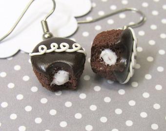 Chocolate Cupcake Earrings, Food Earrings, Dangle Earrings, Cute Earrings, Mini Food Jewelry, Clay Food, Dessert Earrings, Clay Food