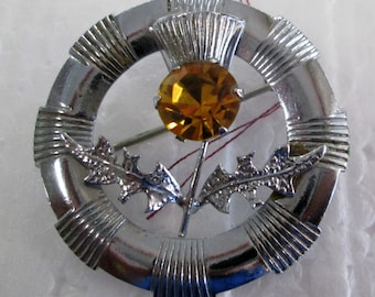 Mizpah Thistle Brooch with Amber Stone