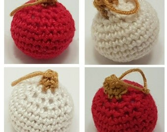 SALE Crocheted Christmas baubles tree decorations,  set of four red and white baubles avaliable 6 inch diameter