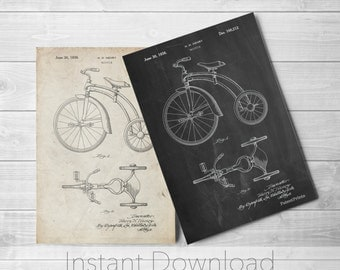 Tricycle Printables, Vintage Tricycle, Antique Tricycle, Kids Toys, Play Room Decor, Kids Room Art, PP1114